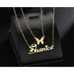 Double chain name necklace...