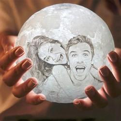 3D Foto gedruckt Lampe Mond...